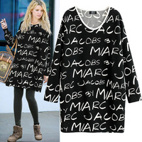 2014 batwing sleeve t-shirt mm plus size one-piece dress t fashion letter print basic t skirt