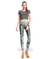 2014 New Arrive Women's Clothing Skinny Elastic Waist Lightweight Zebra-stripe Pattern Sexy Lady's Casual Capris VQ725-1