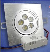 Free shipping Hot Sale AC85~265V 5W LED downlight Brushed Silver Square Shaped