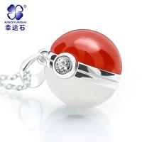 Cartoon Anime Pokemon Fairy Ball 925 Pure Silver Necklace Pendant