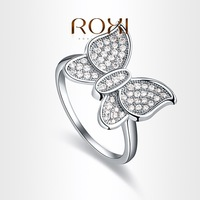 Fashion Accessories Jewelry 18K Gold Plated Austria Crystal Full CZ Diamond with SWA elements Butterfly Rings for Women
