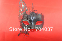 (1 pc/lot) New Style Handmade Half-face Black Color Metal with Rhinestones Venetian Carnival Masks