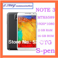 Perfect HDC Note3 MTK6589 N9000 Phone Real 2GB Ram 16GB Rom 1.6GHz Real 1920*1080 FHD 3G Smart Phone 13MP Camera Mobile Phone