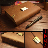 Diary with lock password lock notebook leather the lock thick loose leaf notepad vintage fashion handmade this