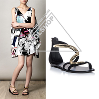 2014 Summer New GZ Serpentine Metal Decoration Back Zipper Flat women 's sandals Free shipping
