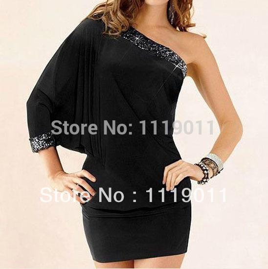 New 2015 Sexy Womens One-Shoulder Spring Tight Mini Dress Fashion Fashion Party Brief Bodycon Dress Club Wear Casual Clothing(China (Mainland))