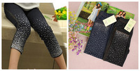 Children's clothing sparkling diamond legging elastic slim jeans skinny pants a12 39