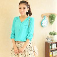 Hot sale 2014 autumn women casual blusas femininas,solid color long sleeve V-neck roupas blouse,soft comfortable all-match shirt