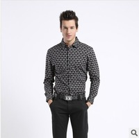 2014 new style spring dress shirt Sea Orchid House mercerized cotton men's plaid long-sleeved shirt Korean printing