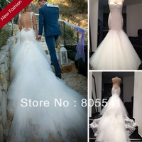 2014 Real Pictures Fashion Vintage Straps Long Train Organza Fashion Sexy Backless Wedding Dress Memaid Wedding Gowns
