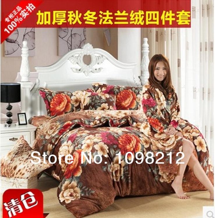 favours fashion Super soft plus size FL velvet thickening flannel coral fleece pink red rose 4 piece bedding set comforter set(China (Mainland))