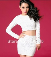 2014 new fashion ladies beading long sleeve mini evening dress party dress white  black