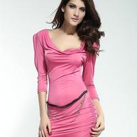 2014 New Ladies Fashion Pink/White/Black Three Quarter Sleeve Ruffled Neck Sexy Slim Sashes Club Party Prom Gown Dress 2907
