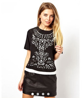 2014 Newest Summer Women Hollw Out Short Sleeve BlackTee,Ladies Casual Pullovers Loose T-shirt/Top  t21