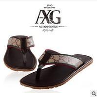 flip flops new2014 hot selling men brand summer slip-resistant rubber slip-resistant male sandals slipper leather material flat