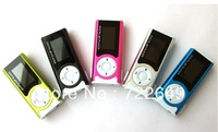 30pcs Mini clip LCD screen mp3 player music player +  with flashlight card slot support TF card best gift Free Shipping