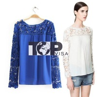 2014 spring new European and American women's lace crochet crochet stitching chiffon shirt long-sleeved shirt empty