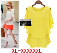 XL- XXXXL new in 2014 6xl plus size women tops blouse summer Loose Casual chiffon Blouses roupas femininas shirt 5xl 4xl XXXL