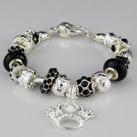 New 2014 Fashion women bracelet.black crystal beads bracelets silver plated accessories bracelets & bangles wholesale