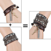 1pcs/lot,men's jewelry charm bracelets & bangles set leather bangle winding weave  fashion jewelry Pulseira Masculina Couro