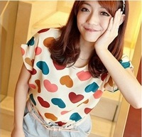 New 2014 Fashion Women Blouses Hot Selling Loose Animal/Flower Printed Chiffon Blouse Autumn-Summer Dot/Heart Sale Shirt