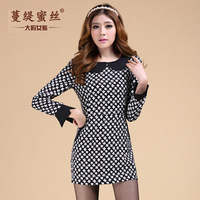 2014 spring new high-end printing large size sweet doll collar dress fat MM women dresses skirts womens casual dress 3087