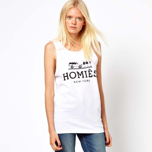 Free shipping Brand LOGO print white homies female vest 6 full skirts dress(China (Mainland))