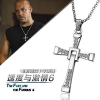 2014 New Wholesale 18k gold white gold plated The Fast and The Furious cross men's necklace pendant fashion jewelry 18KRGPN705