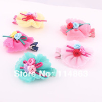 2014 New Girls Flower Hair Clip 5 colors mix (10pcs/lot) Free Shipping