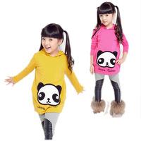 2014 spring autumn winter new arrival children clothing long cartoon panda girls cotton pullover hoodies sweatshirts 6-14