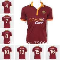 Free shipping popular 10 TOTTI jerseys PJANIC DE ROSSI soccer uniforms 2013 2014 AS Roma home soccer jersey 13 14 made in italy