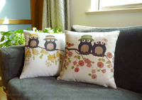 Free shipping 18''X18'' 2pcs heavy (200g/pc)The countryside wind cute Owl pillow cover S028