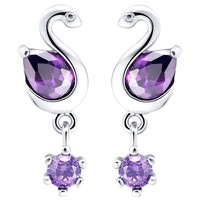 Free shipping, Hot women swan crystal earrings, 925 sterling silver earrings, jewelry, wholesale manufacturers R190