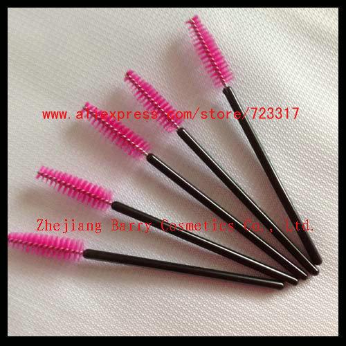 200 Eyelash Extension Hot Pink Disposable Mascara Wand Brushes with Adjustable Head Worldwide FREE SHIPPING(China (Mainland))