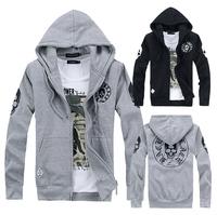 2013 autumn skull mmj sweatshirt 100% plus velvet cotton cardigan with a hood outerwear top outerwear