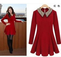 2014 Spring New arrival women dress, M-XL size sequin high quality baby collar long sleeves vintage slim-fit dress Free shipping