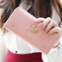 2014  unique rivet fashion design women's long zipper wallet  girl's wallet handbag purse