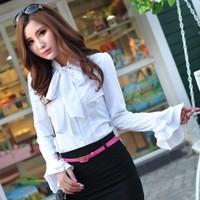 Kimono Direct Selling New Arrival Ruffles Solid Full Women Blouses 2014 Spring Woman Shirt Plus Size Women's Ruffle Long-sleeve