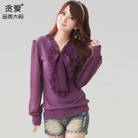 2014 plus size Plus size clothing black purple woman  spring slim lace ruffle sweet long-sleeve plus size sweater