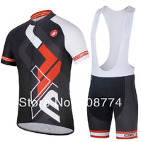2014 Fast Shipping Nice Quality Castelli Hot Retail Cycling Jersey(Maillot)+Bib Short(Culot)/Made From High Quality Polyester