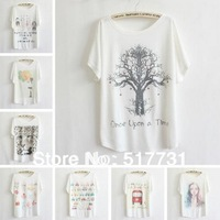 2014 NEW women plus size loose batwing sleeve women's short sleeve t-shirt print tees womens t shirt free shipping
