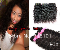 brazilian curly virgin hair extensions mixed length 3pcs/lot free shipping deep wave hair weft 100% indian remy hair in stick