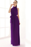 2014 Summer Hot Sale New Women Party Cool Fashion Women Purple Stand Collar Pleated Chiffon Long Dress