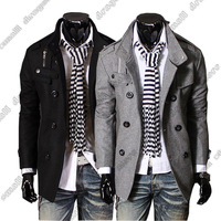 Free Shipping 2014 Free Shipping Men's Hot Stylish Woolen Jacket Double-breasted Coat US size:XS,S,M,L