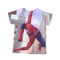wholesales 2014 new style summer kids T-shirt spiderman boys tee shirts building full print girls t-shirts(2T-6T) 5pcs/lot