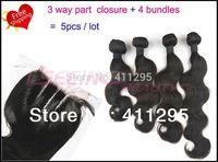 5pcs lot  virgin peruvian body wave hair mixed  3 ways part closure and 4 hair wefts  Free shipping !