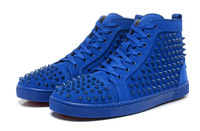2014 all blue with rivets men flat cusual shoes red sole sneakers for men shoes size 39-46