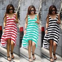New Women's Girl Casual Stripe Irregular Dress Sleeveless Beach Sundress
