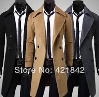 2013 Fashion Stylish Men's Trench Coat, Winter Jacket ,Double Breasted Coat ,Overcoat woolen Outerwear Long jaqueta M-XXXL