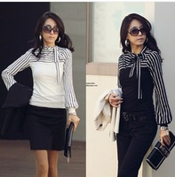 New Women's Leisure O-Neck Shirt Striped Long Sleeve Shirts Tops    JH-BL-030